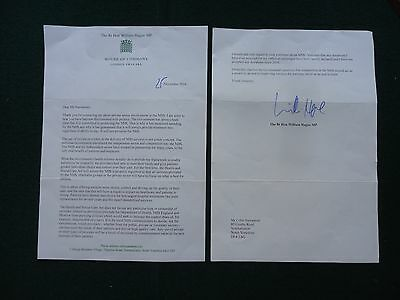 Important British Tory Prime Minister William Hague Signed Letter NHS 2014