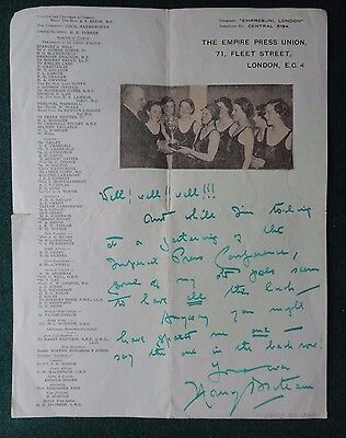 Fine Signed Letter British Author & Tory Politician Sir Harry Ernest Brittain
