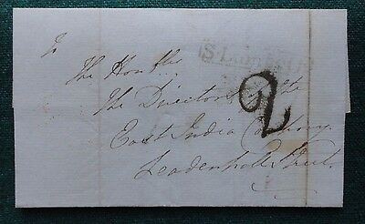 Pre Stamp Cover 1837 to Directors of the East India Company Death Captain Turner