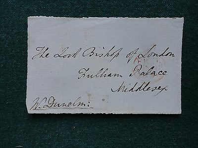 Pre Stamp Cover Signed W. Dunelm Free Front to Bishop of London Fulham Palace