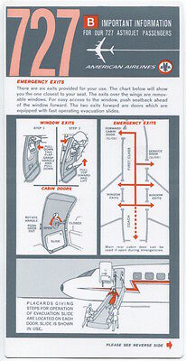American Airlines Boeing 727 Astrojet Vintage Safety Card