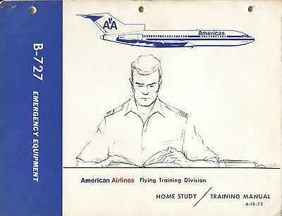American Airlines Boeing 727 Vintage Safety Manual Card 1973