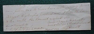 Signed End of Letter General Sir George Hewett 1799 Prince Frederick Duke York