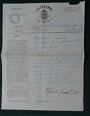 Signed April Fools Day Telegram Belgium Count to English Minister Lumley 1873
