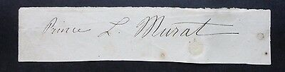 Signed Piece of Paper Autograph French Politican Prince Lucien Murat Pontecorvo