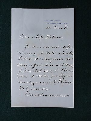 Signed Letter Russian Imperial Ambassador Baron Staal Wedding Prince Dolgorouki
