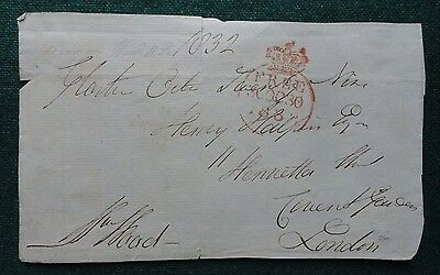 Signed Free Front Pre Stamp British Whig Politician Sir Mathew Wood 1832