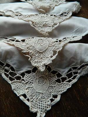 Set of 10 vintage cream cotton napkins with Reticella lace to the corner.