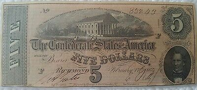 1864 Confederate Bank Note 5 Dollar  CSA Currency