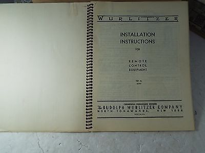WURLITZER Installation Instructions for Remote Control Equipmen in spiral binder