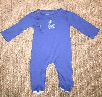 Finn And Emma Infant Boy Outfit 1 Piece 3-6 Months Organically Grown Blue Soft