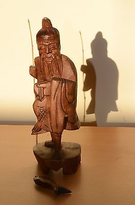 """Chinese Fisherman with Beard Carrying Fish Vintage Wooden Carving 8.5"""""""