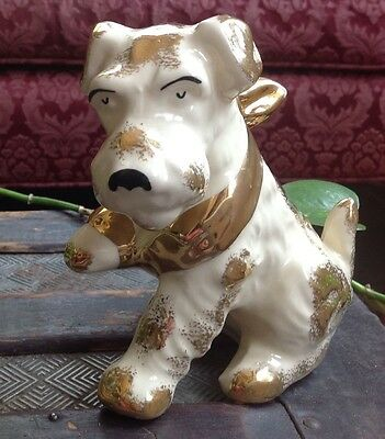 """Vintage Ceramic Terrier Dog with Paw in Sling Figurine - 5"""""""