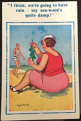 Donald McGill Vintage Postcard My Sea-Weed's Quite Damp