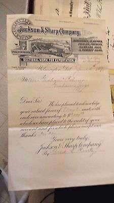 Collectible Dated 1890 Letter Head JACKSON & SHARP CO. Mfg.Freight & Other Cars
