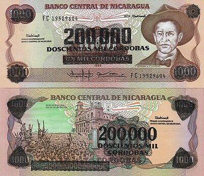 Nicaragua P162, 200,000 Cordobas, General Sandino / Liberation Day, revalued UNC