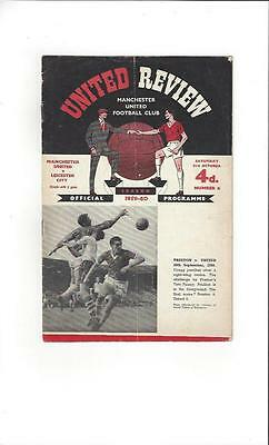 Manchester United v Leicester City Football Programme 1959/60
