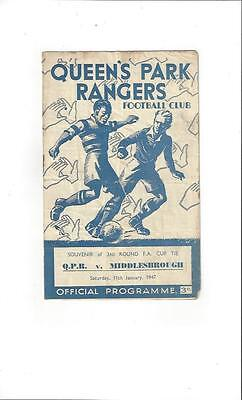 QPR v Middlesbrough FA Cup Football Programme 1946/47