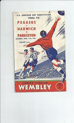 Pegasus v Harwich & Parkeston FA Amateur Cup Final Football Programme 1953