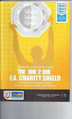 Liverpool v Manchester United FA Charity Shield Football Programme 2001