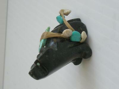 Extra Nice Old Vintage Zuni Indian Black Stone Bear Fetish Extravagent Offering