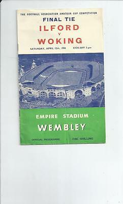 Ilford v Woking FA Amateur Cup Final Football Programme 1958