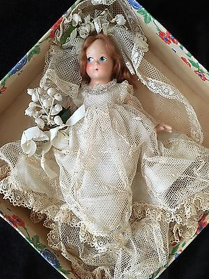 """Antique 7"""" Madame Alexander Bridal Doll with Painted Eyes Marked w/Tags 1930's?"""