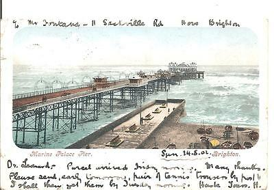Lovely Early Vintage Postcard,marine Palace Pier,brighton,east Sussex,1902