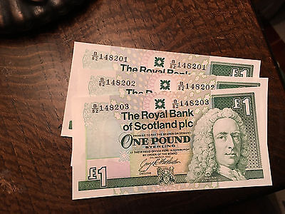 Royal Bank of Scotland Three Sequential One Pound Notes from 1988