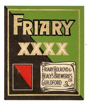 Vintage Friary XXXX beer bottle label, 1954.