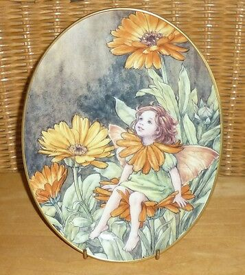 Royal Worcester The Marigold Flower Fairies Oval Plate / Cicely Mary Barker