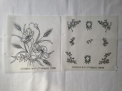 Vintage Embroidery IRON pattern transfer 2 TWO  New Patterns Webber & Webco