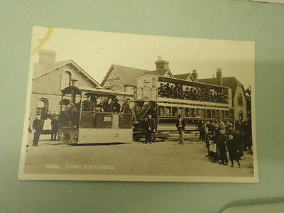 Rare RP Postcard South Staffs Birmingham District Steam Tramway Stony Stratford