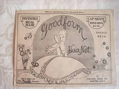 Vtg. New Old Stock Rexall Goodform Hair Net Real Hair Med Brown Original Package