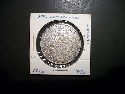 Straits Settlements 1920 1 Dollar silver large foreign coin