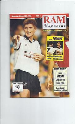 Derby County v Arsenal Coca Cola Cup Football Programme 1992/93