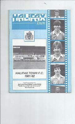Halifax Town v Scunthorpe United Football Programme 1981/82