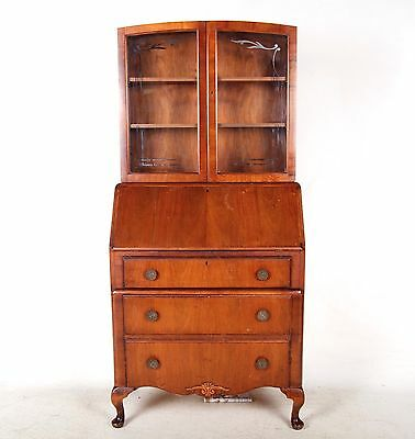 Secretaire Bureau Bookcase Walnut Antique Vintage Deco Glass Writing Desk Chest