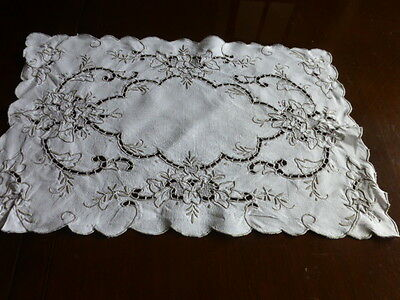 Gorgeous pale beige embroidered tray cloth/table centre with cut work