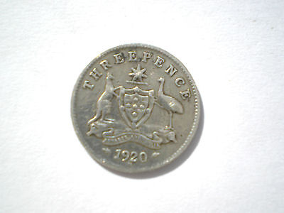 Early Silver George V-3 Pence Coin From British Australia Dated 1920-Nice