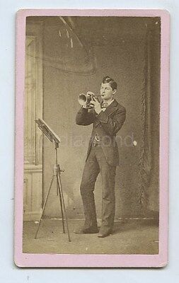 CdV Photo Of Man Playing Trumpet Or Cornet & Music Stand c1880s