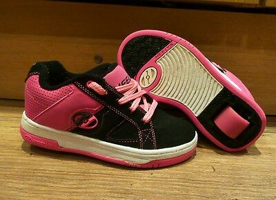 SIZE 12 junior PINK BLACK HEELYS TRAINERS WITH REMOVABLE WHEELS ROLL SKATE SHOES