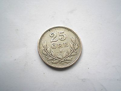 Early - Silver 25 Ore Coin From Sweden-Dated 1931-Nice