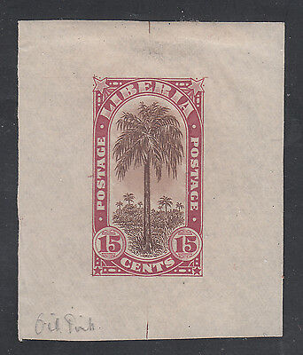 Liberia # 167 1918 MINT Die Proof in Oil Pink With BROWN Center Flora Oil Palm