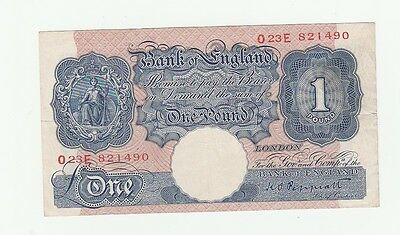 1940 Blue One Pound War Time Emergency Banknote nice old note.