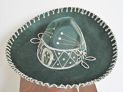 Vintage Pigalle Sombrero Mariachi Mexican Hat Green Sequins Made in Mexico