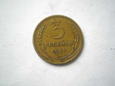 Early 3 Kopek Coin From The Former Ussr Dated 1937-Nice