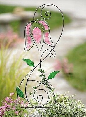 STAINED GLASS PINK TULIP TRELLIS * Stained Glass & Wrought Iron * LAST ONE!!