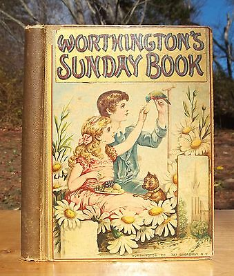 Rare Victorian Children's Book 1887 Sunday Reading Songs Stories Illustrated