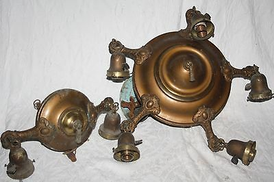 Vintage Matched Design Pair Cast & Stamped Brass Ceiling Fixtures- Need some TLC
